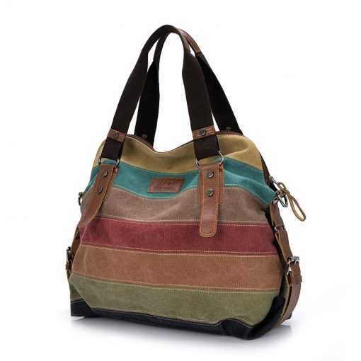 Colorful Large Patchwork Canvas Shoulder Bag for Women Bags cb5feb1b7314637725a2e7: Multi
