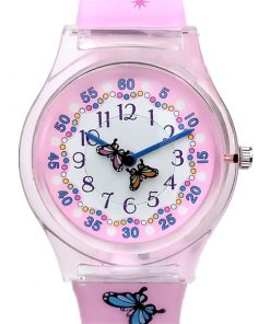 WILLIS Luxury Butterfly Lovely Pink Silicone Strap Ladies Student Watch Women's Watches cb5feb1b7314637725a2e7: Pink