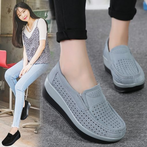 Ladies Suede Leather Hollow Slip-on Flat Shoes Women's Footwear cb5feb1b7314637725a2e7: 3213 Black|3213 Blue|3213 Gray|3213 Red|3213-1 Black|3213-1 blue|3213-1 Gray|3213-1 Red