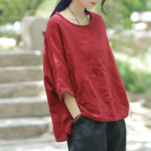 Cotton Linen Short Sleeve Round-Neck Women's Casual Top Tops and Blouses cb5feb1b7314637725a2e7: Beige|Purple|White|wine red