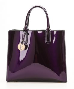Bright Solid Patent Leather Women's Fashion Hand Bag Bags cb5feb1b7314637725a2e7: Black|Blue|Purple|Red