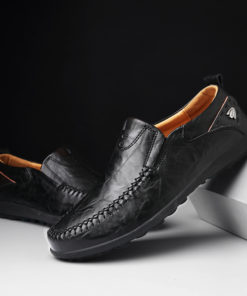 Italian Genuine Leather Loafer Moccasin Men's Casual Flat Shoes