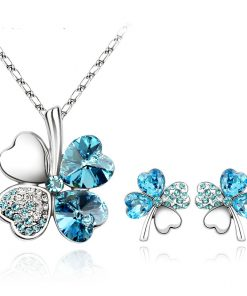 Classic Crystals From SWAROVSKI Lucky Clover Heart Pendant Necklace Earrings Set For Women Jewelry f02846ee759da375bf7e2a: 1|2|3