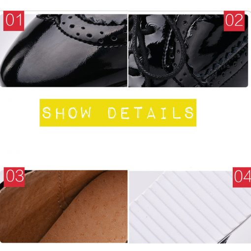 EOFK Brogue Leather Flats Lace Up Female Flat Oxford Shoes Footwear cb5feb1b7314637725a2e7: 001 beige|001 black|001 white|001 Wine red|002 black|002 Gold|002 pink|002 wine red|003 matte black|003 matte red