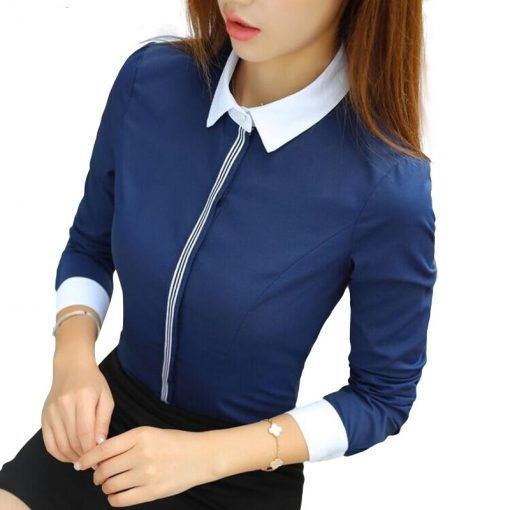 Elegant Patchwork Women Cotton Top Tops and Blouses cb5feb1b7314637725a2e7: Long sleeve Navy|Long sleeve White|Short sleeve Navy|Short sleeve White