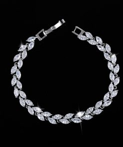 Silver Leaf Crystal Bracelet for Women Jewelry f02846ee759da375bf7e2a: Black|blue|colorful|green|Purple|red|white