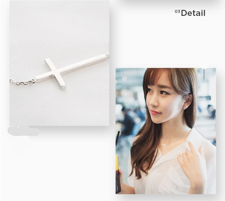 Female 925 Sterling Silver Cross Simple Wild Pendant Necklace