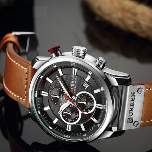 CURREN Top Brand Men's Leather Analog Waterproof Watch Watches cb5feb1b7314637725a2e7: gray gold|Black Black Black|Brown Black White|Brown Blue Black|Brown Blue White|Brown Brown Gold