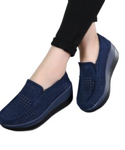 Elegant Suede Leather Slip On Women's Casual Shoes Footwear cb5feb1b7314637725a2e7: Black|black hollow|light sky blue|Navy Blue|navy blue hollow|Pink|Purple|Red|red hollow|Sky Blue|sky blue hollow