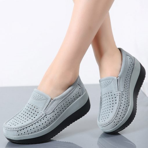 Ladies Suede Leather Hollow Slip-on Flat Shoes Footwear cb5feb1b7314637725a2e7: 3213 Black|3213 Blue|3213 Gray|3213 Red|3213-1 Black|3213-1 blue|3213-1 Gray|3213-1 Red