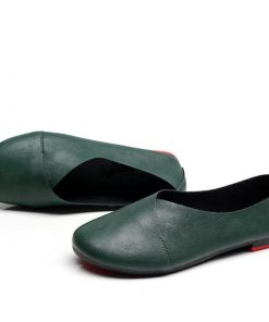 Plus Size Genuine Handmade Leather Loafer Shoes for Women Footwear cb5feb1b7314637725a2e7: Black|Green|White|Yellow