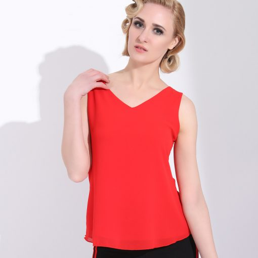 Sleeveless Chiffon Backless Blouse For Women Tops and Blouses cb5feb1b7314637725a2e7: Black|Pink|Red|White
