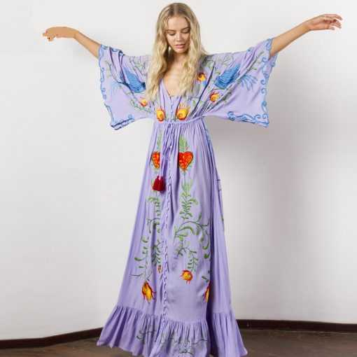 Jastie Embroidered V-neck Batwing Sleeve Loose Maxi Dress Plus Size Dress Dress cb5feb1b7314637725a2e7: Purple|White