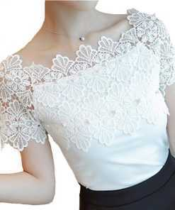 Hollow Out Fashion Elegant Lace Patchwork Casual Women Top Tops and Blouses cb5feb1b7314637725a2e7: Black|White