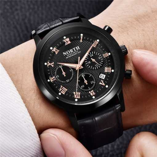 Casual Leather Band Waterproof Quartz Watch for Men Watches cb5feb1b7314637725a2e7: Black|Rose Gold Black|Rose Gold White