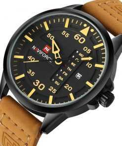 NAVIFORCE Men's Leather Strap Quartz Date Display Military Watch Watches cb5feb1b7314637725a2e7: Gray|Red|White|Yellow