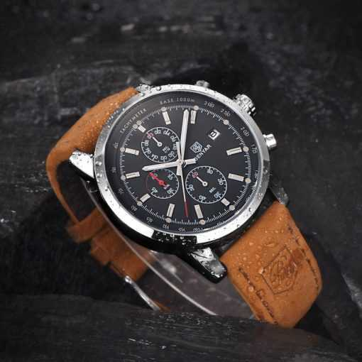 BENYAR Fashion Leather Band Chronograph Watch for Men Watches cb5feb1b7314637725a2e7: all Black and box|Black gray and box|Black white and box|Dack blue and box|Dack blue no box|Silver black and box|Silver black no box|Silver gray and box|Silver white and box|Silver white no box