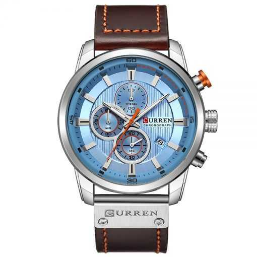 CURREN Chronograph Leather Band Sports Watch for Men Watches cb5feb1b7314637725a2e7: Black|Black Blue|rose coffee|rose gray|Silver Blue|silver black