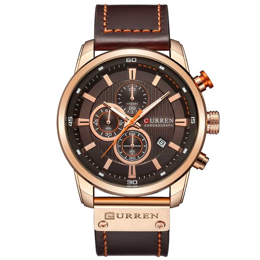 CURREN Chronograph Leather Band Sports Watch for Men