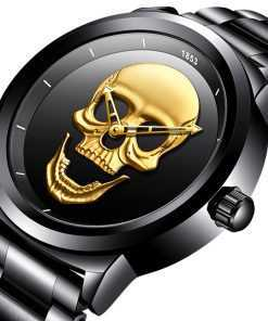 LIGE Waterproof Stainless Steel New Skull Watch for Men Watches cb5feb1b7314637725a2e7: all black|Gold black|silver black