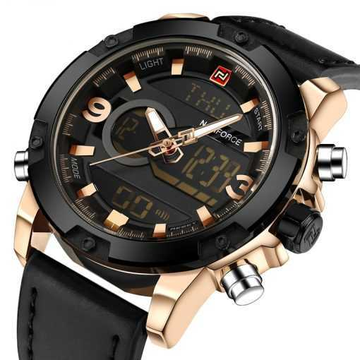 NAVIFORCE Analog Digital Leather Band Military Sports Watch for Men Watches cb5feb1b7314637725a2e7: Black|Glod Black Yellow|Gold black|silver black|silver white