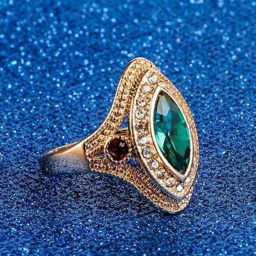Classic Vintage Style Red Green Crystal Ring for Women Jewelry 2ced06a52b7c24e002d45d: 10|8|9