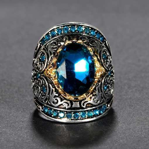 Aquamatine 925 Silver Peacock Blue Gemstone Ring for Women Jewelry 2ced06a52b7c24e002d45d: 10|6|7|8|9