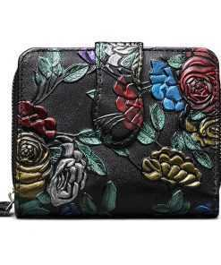 Genuine Leather Embossed Print Design Mini Wallet for Women Wallets cb5feb1b7314637725a2e7: Butterfly|Colorful rose|Dragonfly|Leaf|silver rose