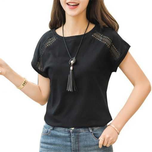Cotton Lace Batwing Sleeve Tops for Women Tops and Blouses cb5feb1b7314637725a2e7: Black|Blue|White