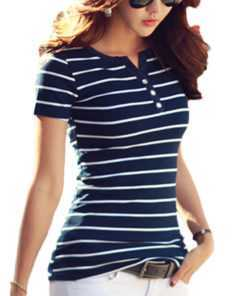 V-neck Short Sleeve Casual Stripe Tops for Women Tops and Blouses cb5feb1b7314637725a2e7: Blue|Coffee|Grey|Red|White
