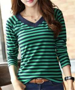 Female Striped Cotton Long Sleeve Casual T-shirt T-Shirts cb5feb1b7314637725a2e7: Blue|Green|khaki