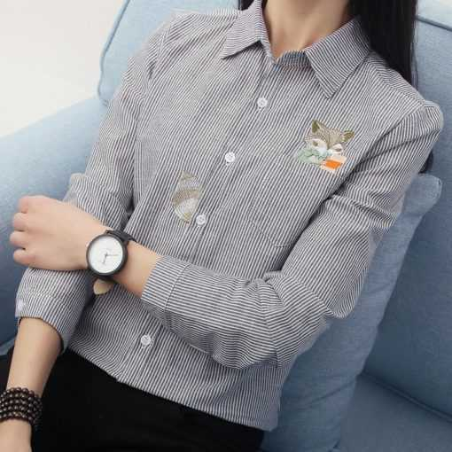 Fox Cat Embroidery Long Sleeve Stripe Women's Blouse Tops and Blouses cb5feb1b7314637725a2e7: 01|02|03|04|05|06|07|08|09|10|11|12|13