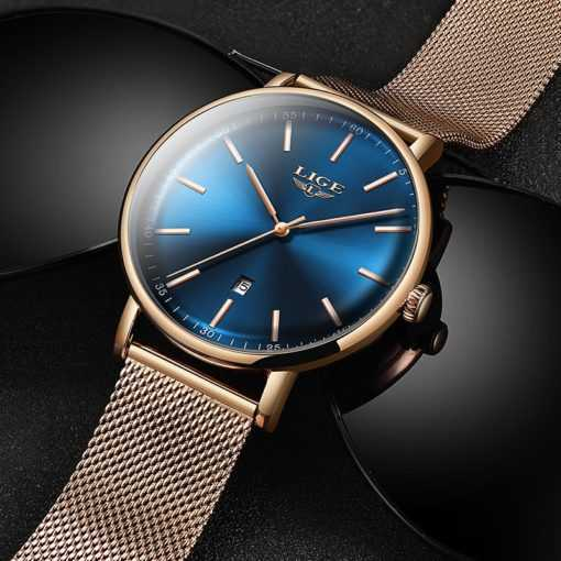 LIGE Women's Ultra-thin Watch Stainless Steel Waterproof Watch Watches cb5feb1b7314637725a2e7: Black and blue gold|Black Blue|Black gold needle|full black|Rose Gold Black|Rose Gold Blue|Rose Gold White