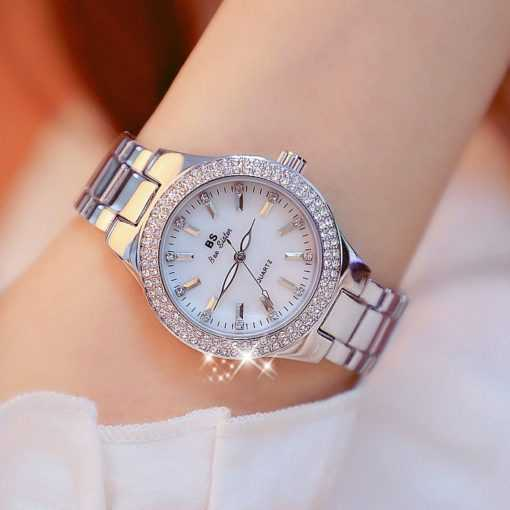 Crystal Diamond Stainless Steel Silver Ladies Wrist Watch Watches cb5feb1b7314637725a2e7: Gold gold silver Silver