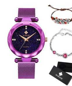 Stainless Steel Mesh Band Ladies Bracelet Quartz Watch Watches cb5feb1b7314637725a2e7: Black|Black and bracelet|Blue|Blue and bracelet|Gold|Golden and bracelet|Purple|Purple and bracelet|Rose|Rose and bracelet