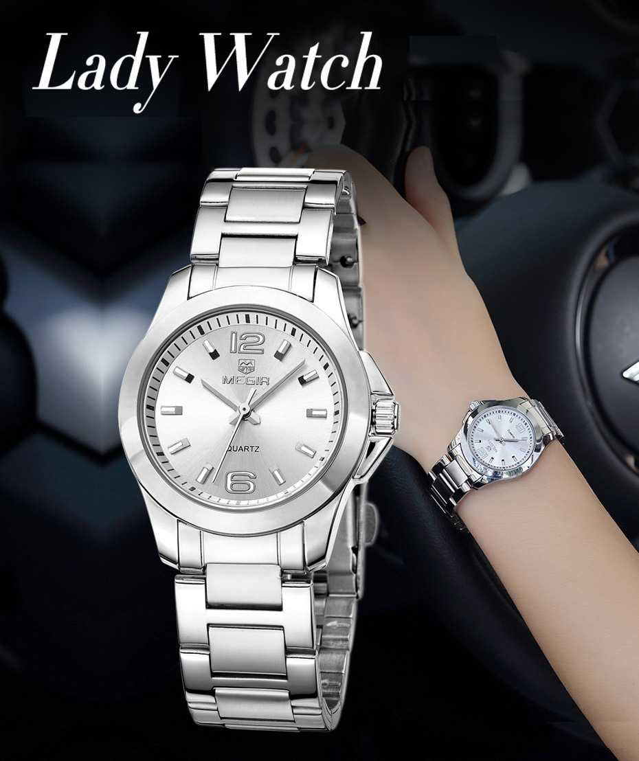 Women's Simple Round Dial Stainless Steel Waterproof Quartz Watch