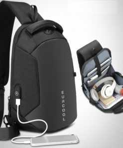 Multifunction Water Repellent Shoulder Messengers Men's Chest Bag Bags cb5feb1b7314637725a2e7: Black|Gray