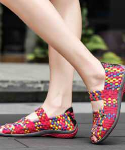 Hand Woven Flat Slip-On Colorful Female Sandals Footwear cb5feb1b7314637725a2e7: black grey combine|black multi|pink grey combine|purple multi|rosy red multi|rosyred grey combine