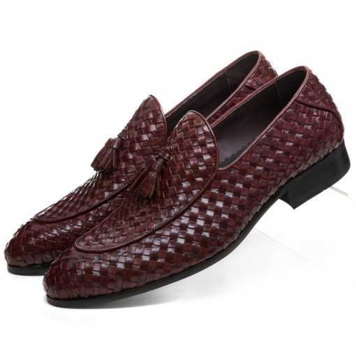 Breathable Genuine Leather Woven Design Loafer Men's Shoes Footwear cb5feb1b7314637725a2e7: Black|Brown tan