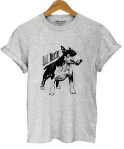 Bull Terrier Dog Print 100% Cotton Women's Casual T-Shirt T-Shirts cb5feb1b7314637725a2e7: QI0118B-BS|QI0118B-GREY|QI0118B-PINK|QI0118B-QLAN