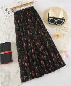 Floral Print Long Maxi High Waist Pleated Skirt for Women Skirts cb5feb1b7314637725a2e7: Apricot|Black Blue|black red|White
