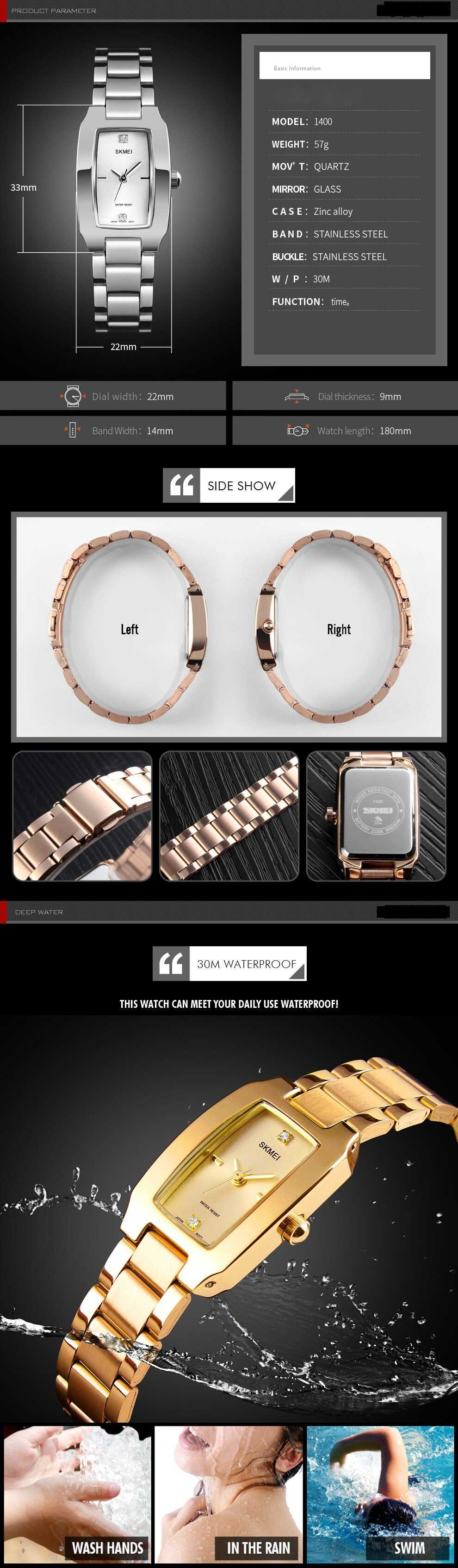 Ladies Luxury Stainless Steel Waterproof Watch